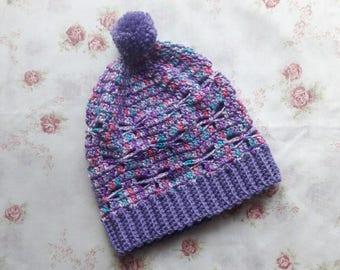 Crochet Dragonfly Slouchy Hat / Crochet Hat / slouchy hat / crochet Beanie / Crochet Slouchy / Handmade
