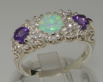 Platinum 950 Natural Opal, Diamond & Amethyst Filigree Engagement, Anniversary Ring - Made in England - Victorian Vintage Style