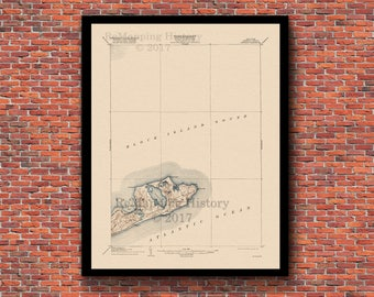 Montauk and East Hampton, New York Restored Vintage Map - Long Island and Hamptons