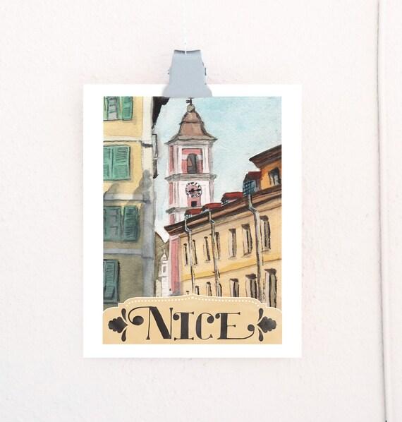 Nice, France Watercolor Travel Poster art print of an original watercolor illustration