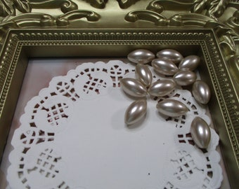 Vintage 18mm Navette Latte Pearl Beads-Costume-Old Stock-Made in Japan