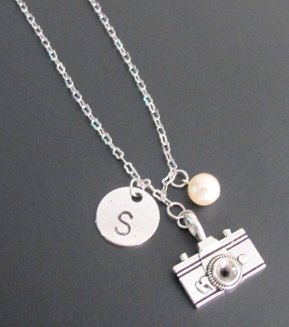 Camera Necklace - Camera Jewelry Custom Initials - Handstamped  Photographer's Pride necklace, hand stamped camera necklace Free Shippin USA