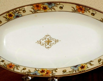 Nippon Vintage Hand Painted Handled Tray Floral Motif