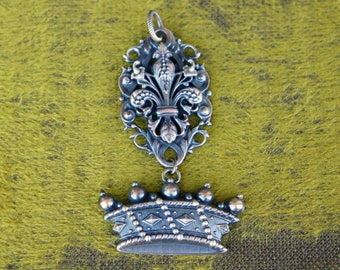 Handcrafted French Brass Stamping Pendant Fleur de Lys Crown Royalty
