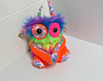 Monster Plush - Handmade Rainbow Plush Monster - OOAK Monster Toy - Neon Rainbow Faux Fur Monster - Happy Stuffed Monster - Weird Cute Toy