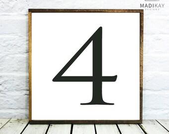 Wedding Table Number 4, Farmhouse Decor, Table Numbers, Wedding Decor Table Number 4 Wedding Wedding Table Decor, Wood Table Numbers, Framed