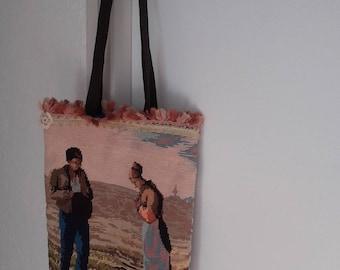vintage canvas shoulder bag and tissue