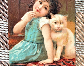 1907 Postcard - Embossed Girl & Kitty Cat