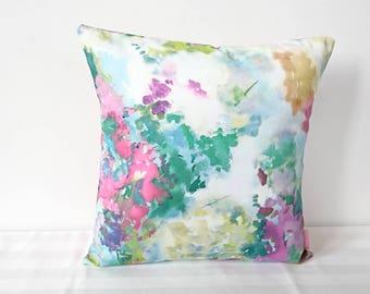 Colourful cushion - colourful decor - flower pillow - floral cushion -  summer cushion - watercolour cushion - decorative throw cushion