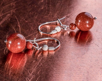 Sunstone Dangle Earrings, Beaded Earrings, Sterling Silver Hook Decorated, Gemstone Earrings, Mothers Day Gift