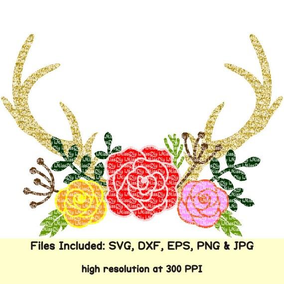 Deer Antler Monogram Svg Tribal Boho Flower Wedding Floral