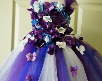 Flower Girl Dress, Tutu Dress, Photo Prop, in Purple Blue and Ivory, Flower Top, Tutu Dress
