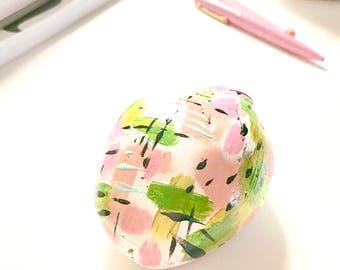 READY TO SHIP Medium Painted Rock Paperweight Paper Organizer Allowance Money Holder Office Decor Pretty Desktop White Green Pink Black