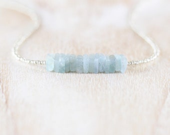 Moss Aquamarine, Tiny Seed Bead & Sterling Silver Necklace. Blue Heishi Gemstone Choker. Womans Layering Necklace. Boho Hippie Jewelry