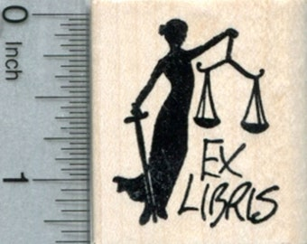 Lady Justice Bookplate Rubber Stamp, Ex Libris D33708 Wood Mounted