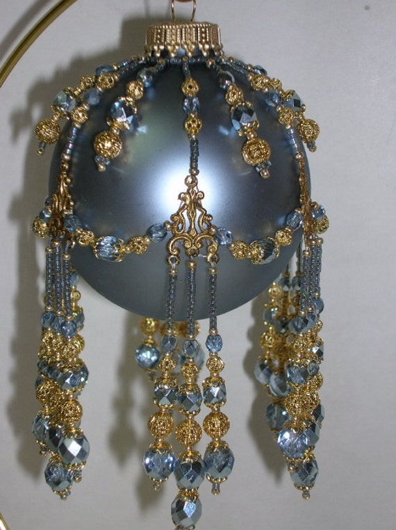Pattern Beaded Christmas Ornament Cover Blue Florentine