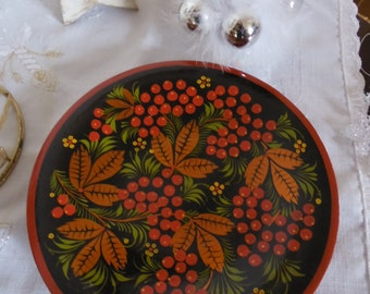 Plate, Kokhlomah design, deco Berry red, gold, vintage 70's.