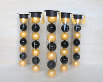 Graduation Cap with Tassel Gumball Tube Party Favors  - Set of 12 (Black & Gold, Congrats, Class of 2018 Gift)