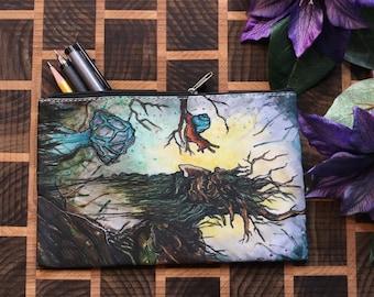 Original Artwork Cosmetic - Pencil- Stuff Bag By Kayla Klassy
