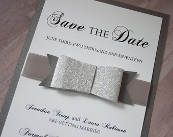 Bow Tie Save the Date, Black Tie Save the Date, Custom Save the Date