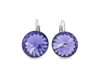 Tanzanite Purple Swarovski Crystal Rivoli Earrings, Lightweight Stainless Steel Leverback Earrings, Purple Tanzanite Crystal Earrings