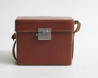 Camera Case Brown Leather 1950S//Travel Bag//Purse