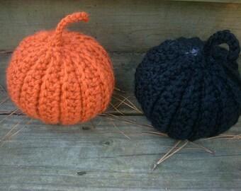 Set of two crochet pumpkins, handmade crochet pumpkin one in black, one in orange by ILoveCrochetByAnna, READY TO SHIP