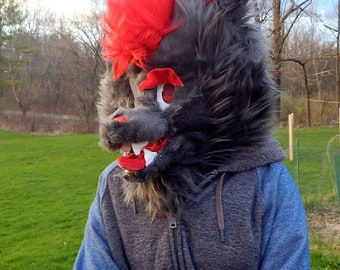 Grey and red fursuit head