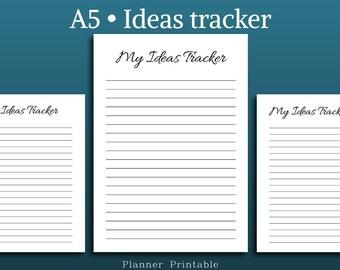 Ideas Tracker Planner • A5 Printable Planner Inserts • Filofax Personal • Filofax Planner • Kikki K Inserts • Idea Journal • A5 filofax
