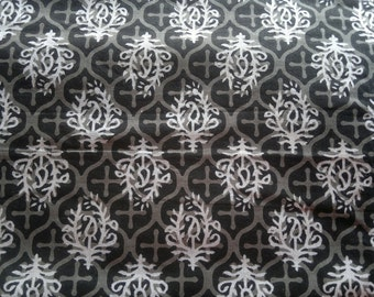 Cotton Block Print Fabric, Black White Paisley Print Fabric, Floral Indian Fabric, Cotton Fabric By The Yard, India Block Printed Fabric