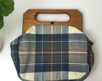 40's Plaid WWII Wood handled Handbag