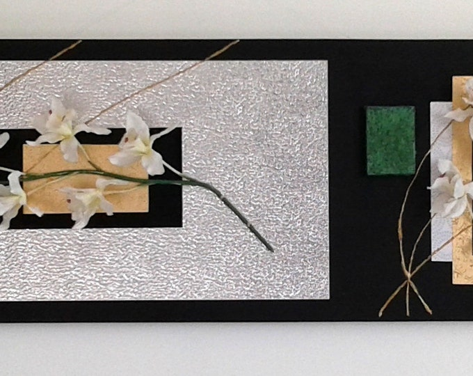 """Contemporary painting """"silver heart flower"""" embossed acrylic painting wall decoration"""