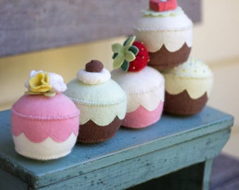 PDF Pattern - 'My Little Cupcake' - Felt Cupcake Softie Pin Cushions or Playset  - Instant Digital Download - Plush Children's Toy
