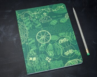 Cell Biology Softcover Notebook | Microbiology, Bullet Journal, Dot Grid Bujo, Green, Recycled Paper, Mitosis, Journal, Gift, Back to School