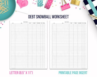 Letter: Debt Snowball Worksheet • Budget Binder Printable Page Insert for BIG Happy Planner® & Letter sized Discbound or Ringbound Planners