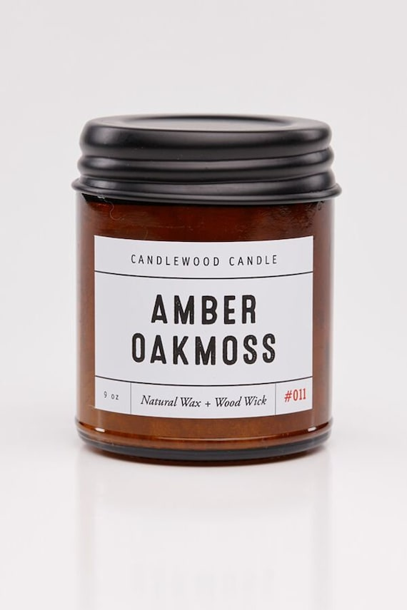 AMBER + OAKMOSS - Wood Fire Natural Soy Wax Candle in Amber Jar with Black Lid 9 oz