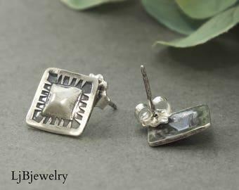 Silver Square Studs, Silver Stud Earrings, Silver Earrings,  Square Earrings, Silver Jewelry,  Metalsmith, Metalwork, Handmade, Art Jewelry