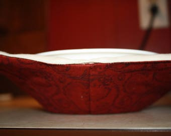 Microwave Bowl Cozy/Hot Pad- Red & Cream