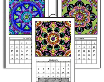 "HALF PRICE  2018 Digital Calendar Printable Downloads 5"" X 8.8"" Pages Original Mandala Images 12 Different  2018 CAL 19"