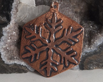 Snowflake Etched Copper Necklace