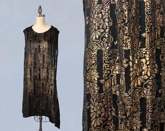 RARE!! 1920s Dress / 20s Metallic Lame Dress / CHINOISERIE Motif! / Pagodas / Asymmetrical Fishtail Hem