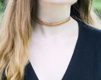 18k Gold Filled Chain Necklace Rose Gold Chain Necklace Woman Gift Idea for Wife Gold Necklace Chain Gold Choker Chain Gift Idea under 25