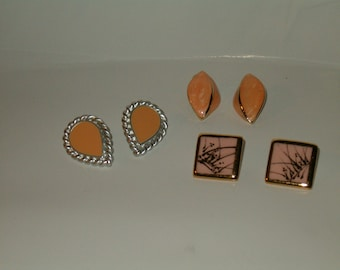 Vintage Lot Of 3 Pair Enamel Earrings 1 Silver Tone And Peach Tear Drop Shape, 1 Gold Tone/Pink Square, 1 Oval And Gold Tone Peach Pearl