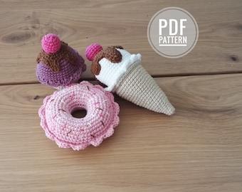 Crochet pattern - ice cream cone - donut - cupcake - playfood - amigurumi