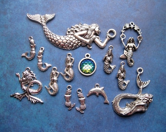 Mermaid Charm Collection in Silver Tone - C2656