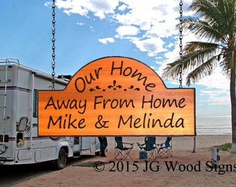 Wood Camper Sign - Our Home Away From Home - Carved Camping Sign - Redwood JG Wood Signs Etsy  Camper Name Sign JGWoodSigns Etsy MikeMelinda