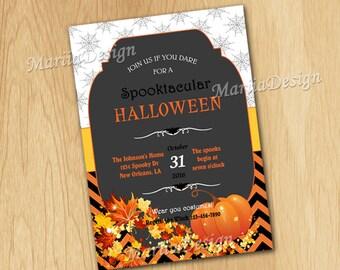 Halloween Birthday Invitation, Halloween Party Invitation, Halloween Invitation, Halloween Card - ONLY FILE