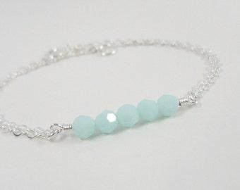 Mint Green - Sterling Silver Delicate Bracelet - Simple Everyday Jewelry - Dainty Bracelet