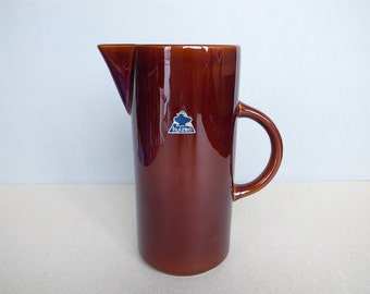 50's Dutch Vintage Driehoek Huizen Large Water Jug / Pitcher Dark Brown Mid Century Modern Design