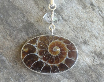 """Sterling Silver Natural Ammonite & Herkimer Pendant Necklace - Sterling Silver 18"""" chain - Boho Chic Fossil Necklace Pendant -"""